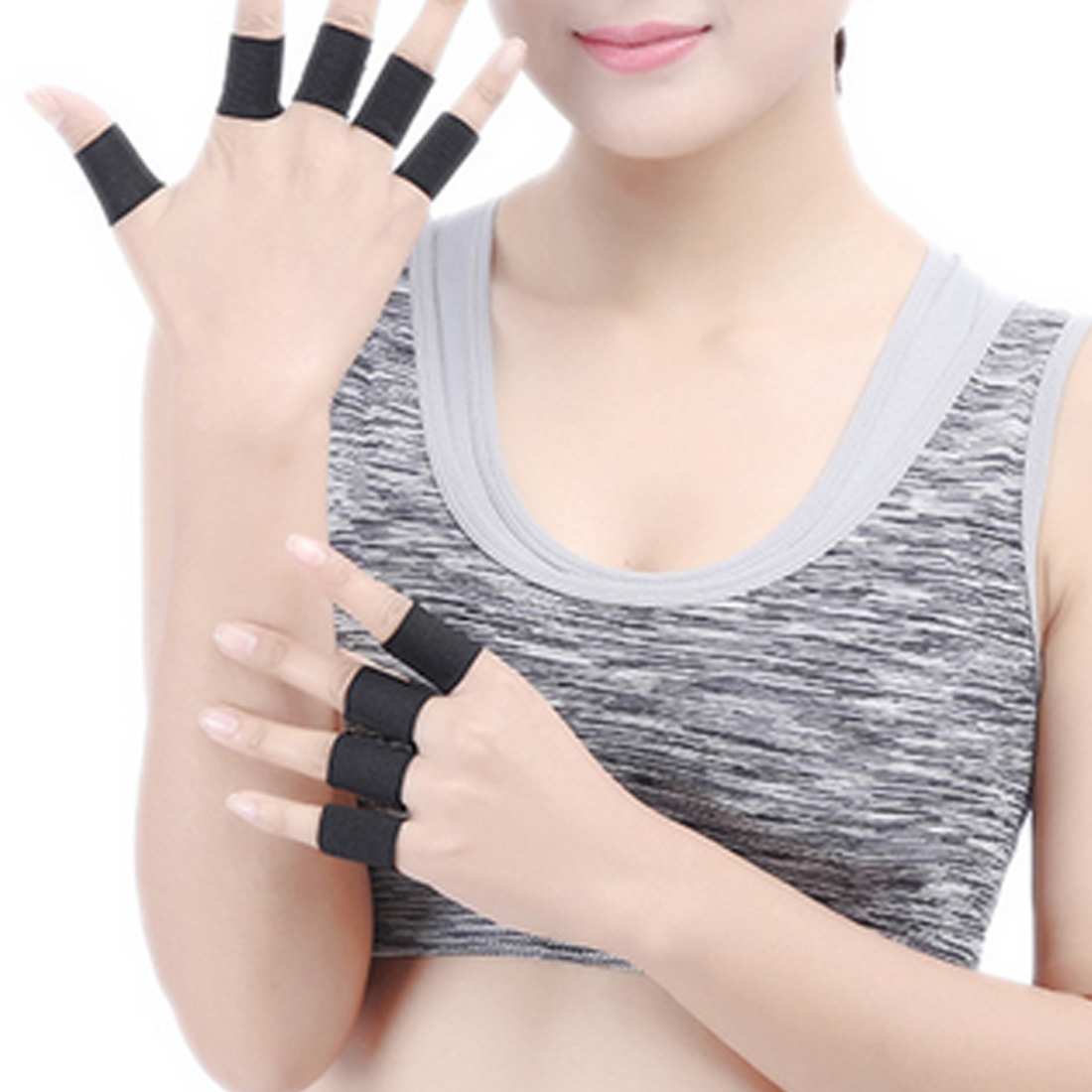 10Pcs Finger Protector Sleeve Support Basketball Sports  Arthritis Band Wraps Finger Sleeves