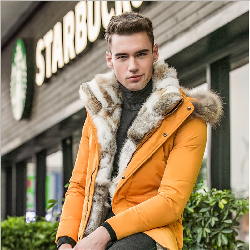 Brand Clothing Men Winter Fur Collar Thicken Down Jackets Army Green Plus Size Stand Collar Men Winter Coat A2531