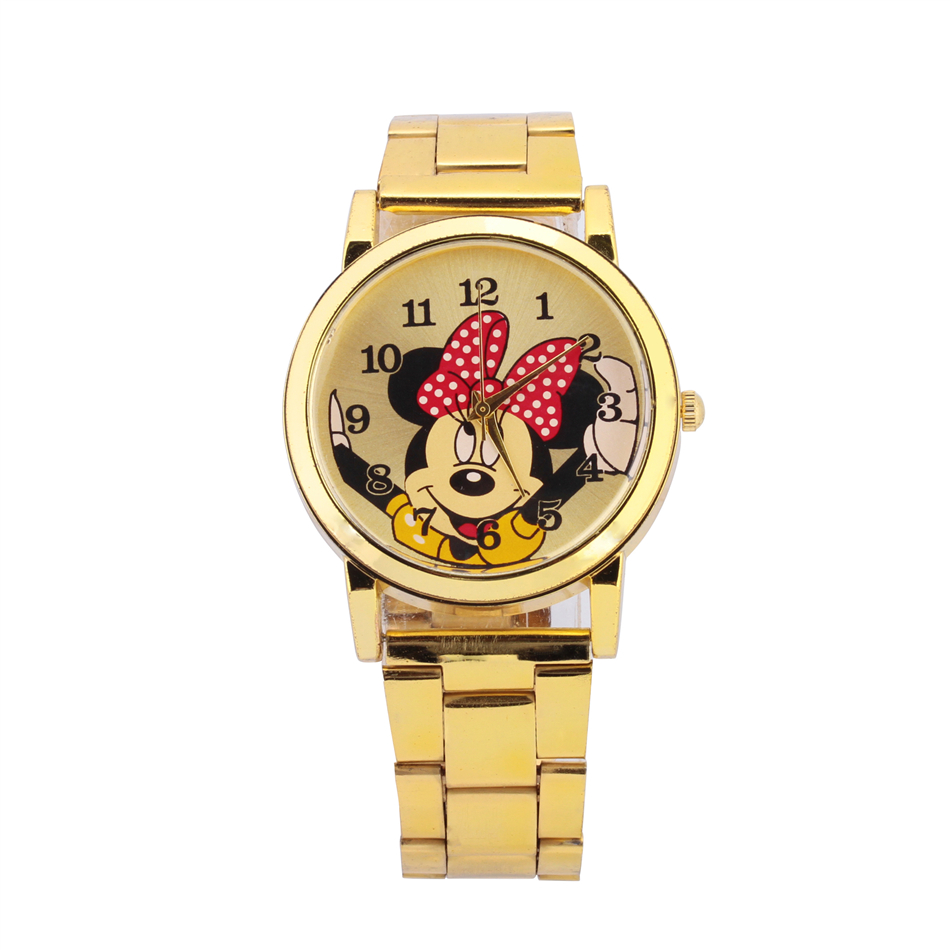 Minnie watch men stainless steel gold women watches cartoon mouse clock sports waterproof quartz for Cartoon watches