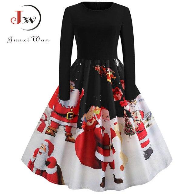 Winter Women Christmas Dress Long Sleeve Print Vintage Party Dress Elegant Black Patchwork Bodycon Dresses Vestidos Plus Size 1