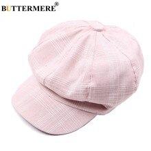 BUTTERMERE Rosa vendedor gorras Gatsby de algodón de las mujeres octogonal  boinas sombreros mujer ocasionales sólido e8a6c5c9780