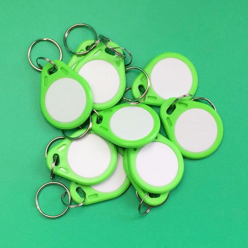 10 pcs 13.56mhz Duplicator Copy IC Keyfob Tag Tags Card Sticker Key Fob Token Ring Proximity Chip Green Color