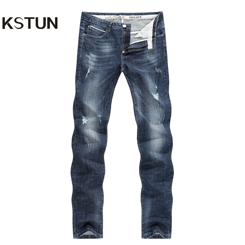 KSTUN Mens Biker Jeans Ripped Summer Slim Fit Straight Elasticity Blue Street Wear Male Trousers Long Jeans Men Motocycle Roupas