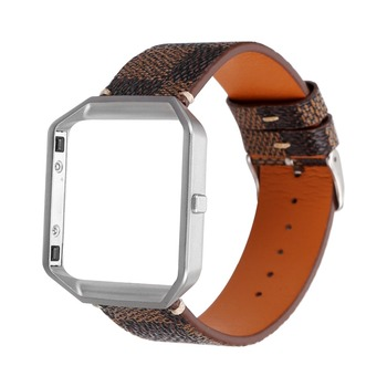 Classic Plaid Leather Strap WatchBand For Fitbit Blaze with frame replacement bracelet wristband for Fitbit smart watchband girl фото