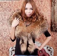 Ultralarge wide raccoon self shade princess collar fox scarf cape horn muffler scarf vigoreux
