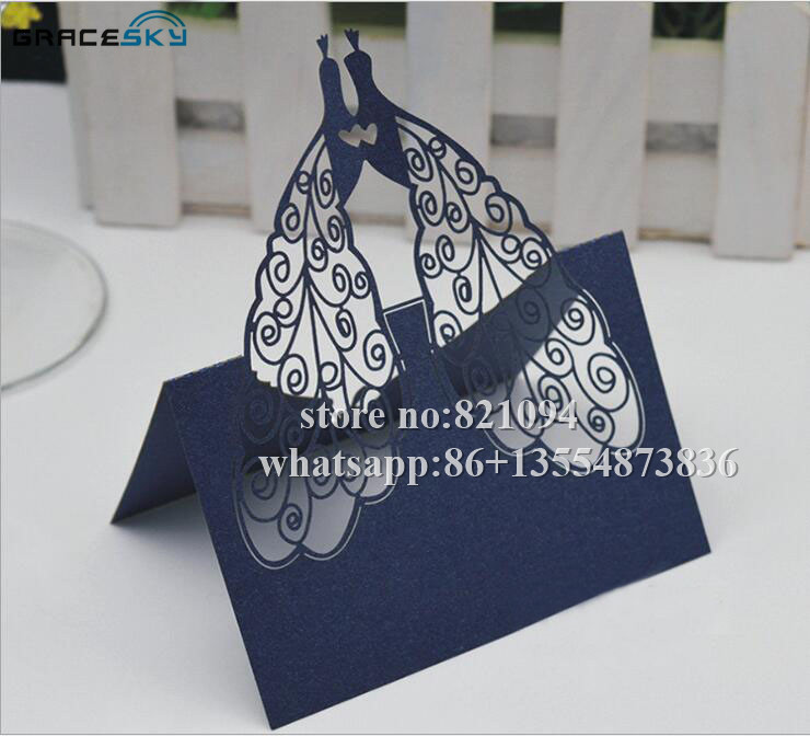 50Pcs Free Shipping Laser Cutting New Peacock Pearlescent Paper Wedding  Invitation Seat Name Table Cards For