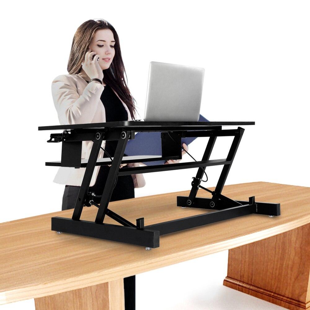 Регулируемая высота стоял Рабочий стол с пружинным Riser конвертер компьютерные столы - 6