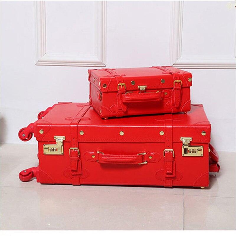 12 20 22 24 ретро искусственная кожа замуж багажа на универсальные диски, высокого качества винтажные тележки для багажа для невесты, ретро ко...