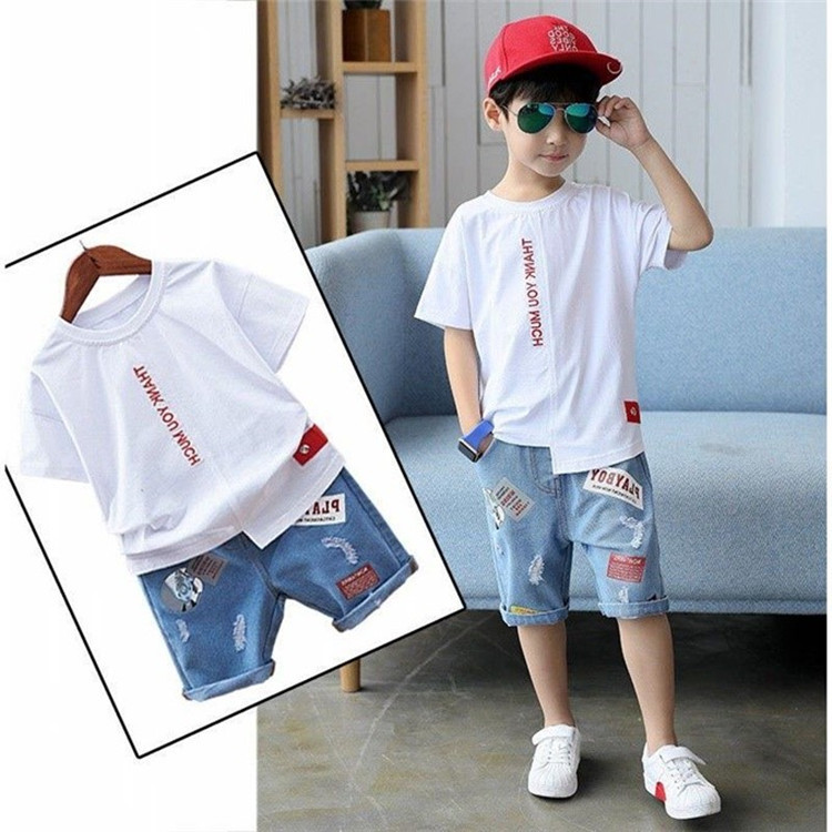 Big Boy Short Sleeve T Shirt+A Pair of Jeans 2pc Sport Sets Summer Childrens Clothing Kids New Summer Boys Clothes Suits 3-13YBig Boy Short Sleeve T Shirt+A Pair of Jeans 2pc Sport Sets Summer Childrens Clothing Kids New Summer Boys Clothes Suits 3-13Y