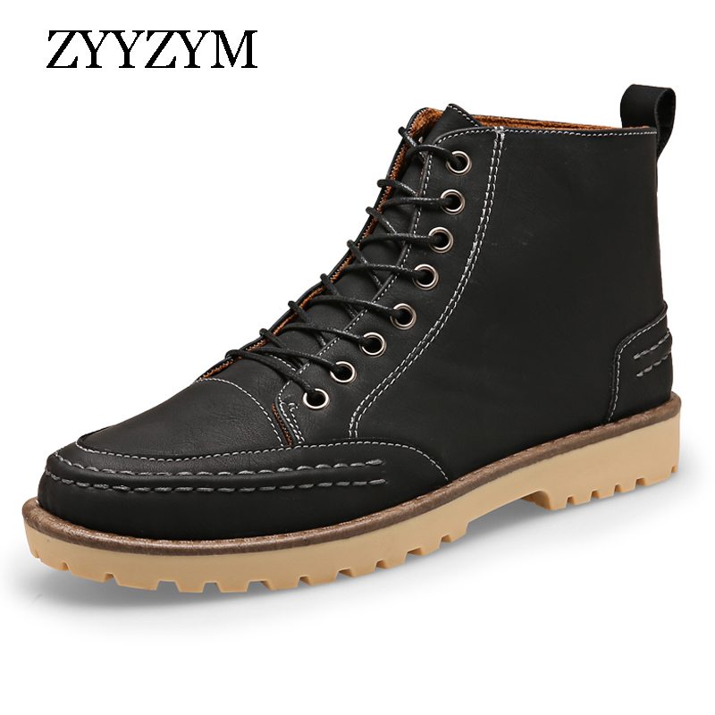 2016 Winter Men Snow Boots Hot Sell Lace-Up Trend Fashion Contracted Man High Top Plush Keep Warm Cotton Martin Shoes