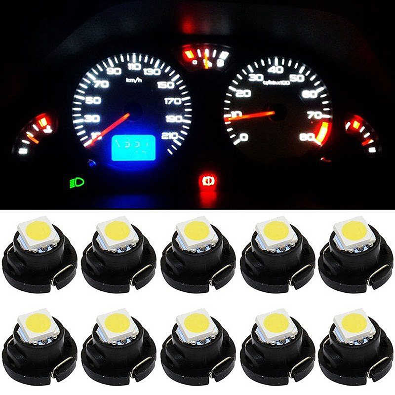 10 PCS T3 T4.2 T4.7 Car LED Instrument Lights 5050 1210 1SMD Automobile Interior Signal Light Bulbs 7 Colors