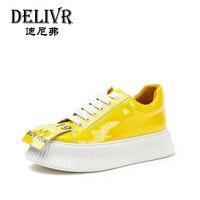 Delivr/Повседневная Вулканизированная обувь на толстой подошве; женские модные ботинки с массивным каблуком из лакированной кожи; женские кро