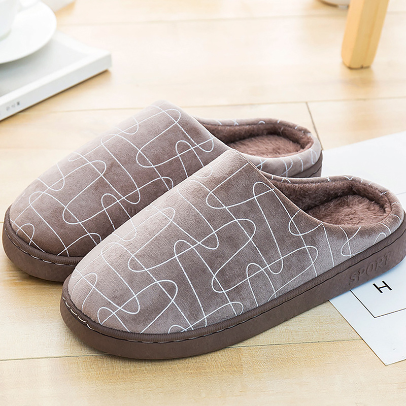 Men slippers 2018 fashion cheap flock indoor man slippers plus size 41-44 striped short plush winter warm slipper for men цена