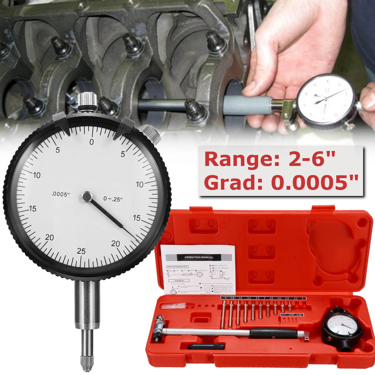 цена на 10 Anvils Dial Bore Gauge Measuring Indicator 2-6 Grad 0.0005 Steel+ABS Resolution Engine CylinderChangeable/Movable Probe
