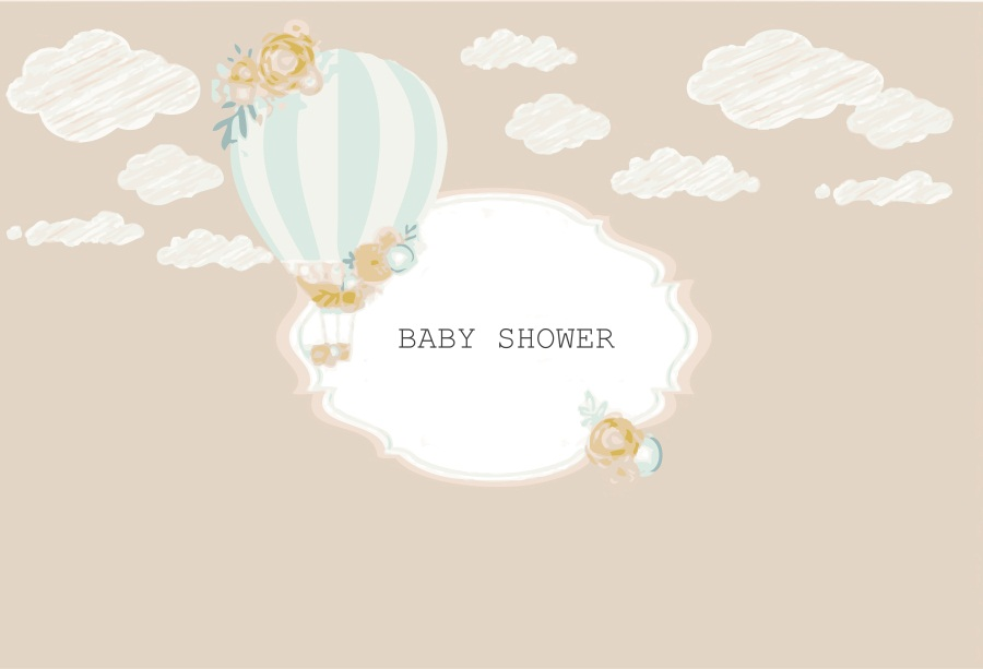 Laeacco Cartoon Hot Air Balloon Baby Shower Newborn Photography