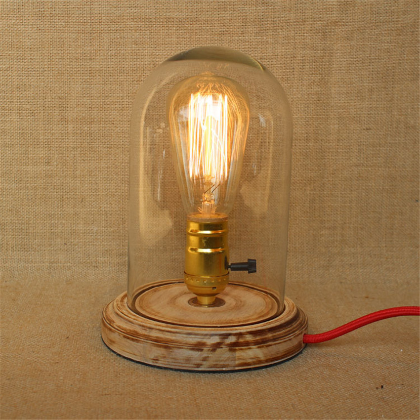 Vintage wooden base glass lampshade table lamps retro for Lamp wooden