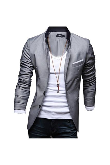 SAF-men Slim Fit Blazer Jacket Coat Shirt X-large Gris
