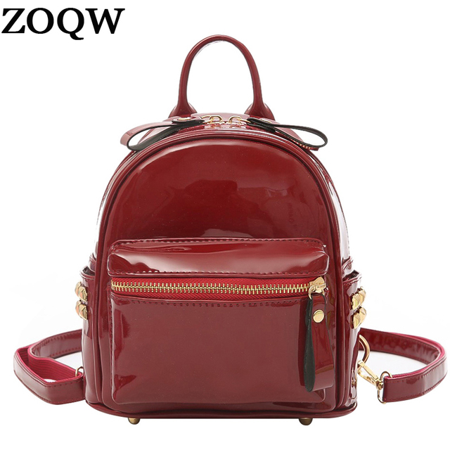 7d556f204efb ZOQW Mini Backpack Female Small Patent Leather Backpack Women Bag Pack  Korean Backpacks for Teenagers Girls School Bags WYQ1310