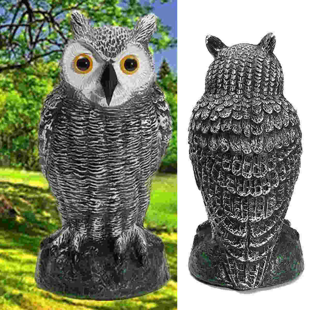 Jx Lclyl Fake Standing Owl Hunting Decoy Ornamental Repeller Garden Solar Powered Animal Scarer Weed Pest Crow