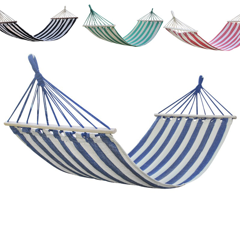 Portable Camping Garden Beach Travel Hammock Outdoor Swing Ultralight Colorful Swing Bed Rollover-proof Canvas Stick Shammock