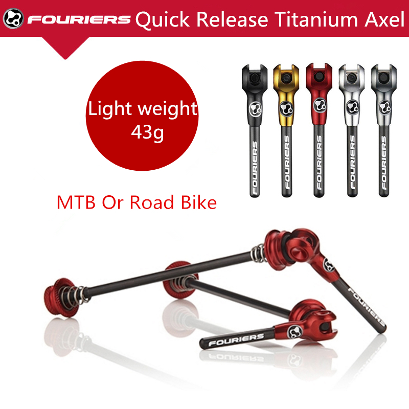 FOURIERS Light Alloy Carbon Fiber Lever Quick Release Road Mountain Bike Cycling Wheel Hub Skewers Set