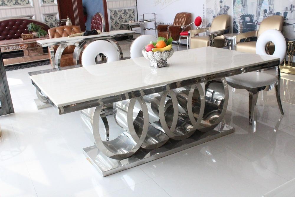 €989.87 |Mesa de comedor de mármol y silla mesas de comedor modernas  baratas 8 sillas-in Mesas de comedor from Muebles on AliExpress