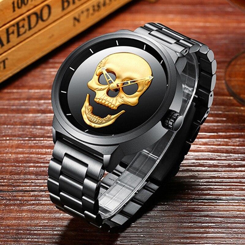 Watches Clock Quartz Stainless-Steel Hodinky Support Masculino Black Men's Relogio