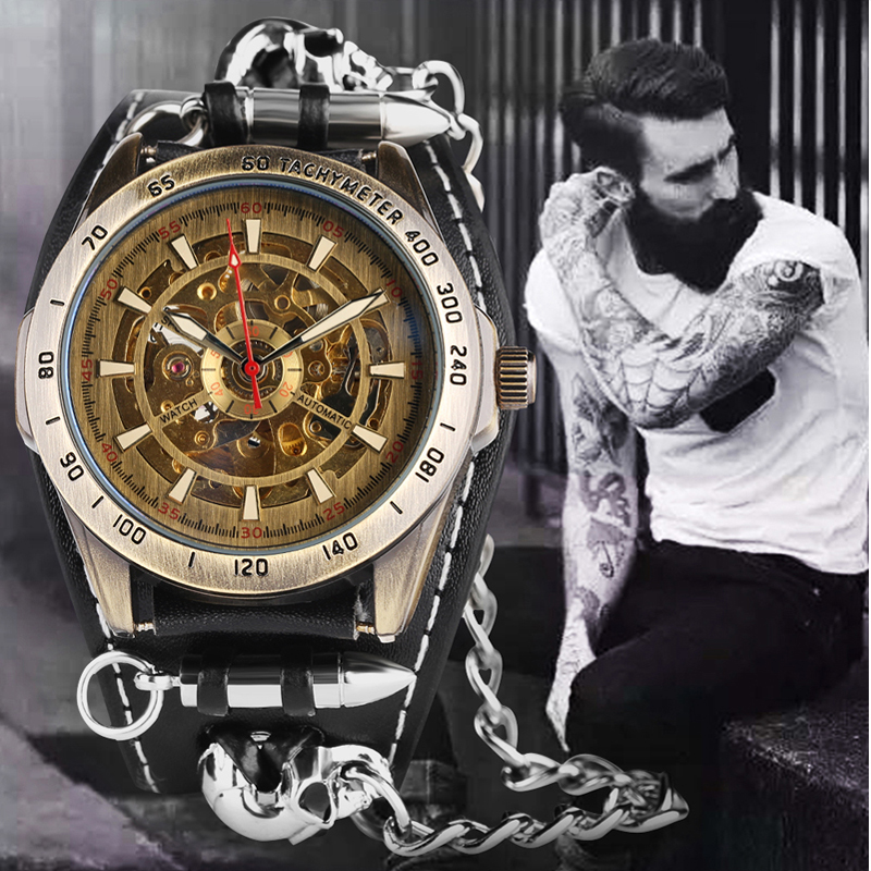 New Cool Punk Bracelet Mechanical Watch Automatic Self Wind Wristwatch Skull Bullet Chain Gothic Style Leather Strap Men GiftsNew Cool Punk Bracelet Mechanical Watch Automatic Self Wind Wristwatch Skull Bullet Chain Gothic Style Leather Strap Men Gifts