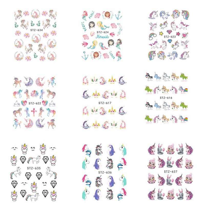 10 Unidslote Calcomanías De Transferencia De Agua Calcomanías Unicornio Sirena Dibujos Animados Marca De Agua Deslizador Gel Decoración De Uñas