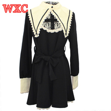 Gothic lolita dress vintage robe la oscuridad criada vestidos de encaje de cuello falso harajuku girls nun hermana cosplay anime party dress wxc