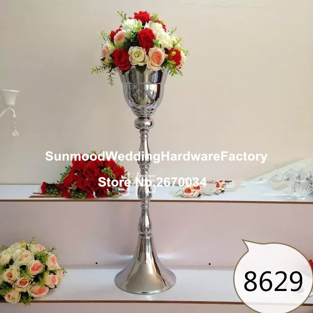 Aliexpress buy tall silver metal flower stand mental tall silver metal flower stand mental wedding centerpieces for aisle decor junglespirit Images