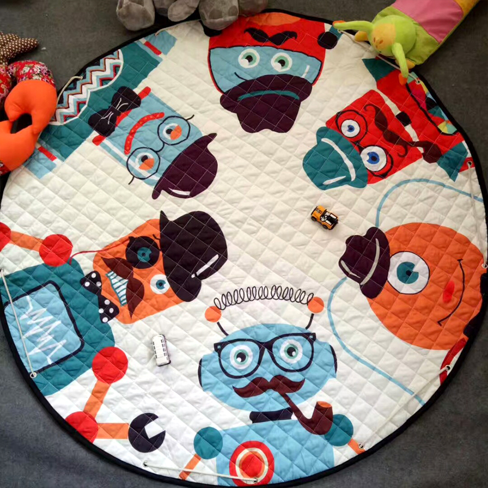 Round Kids Rug Baby Play Mats Cartoon Fox Car Kwaii Rabbit Giraffe Style Children Developing Mat Carpet Toy Storage Bag 150 Cm