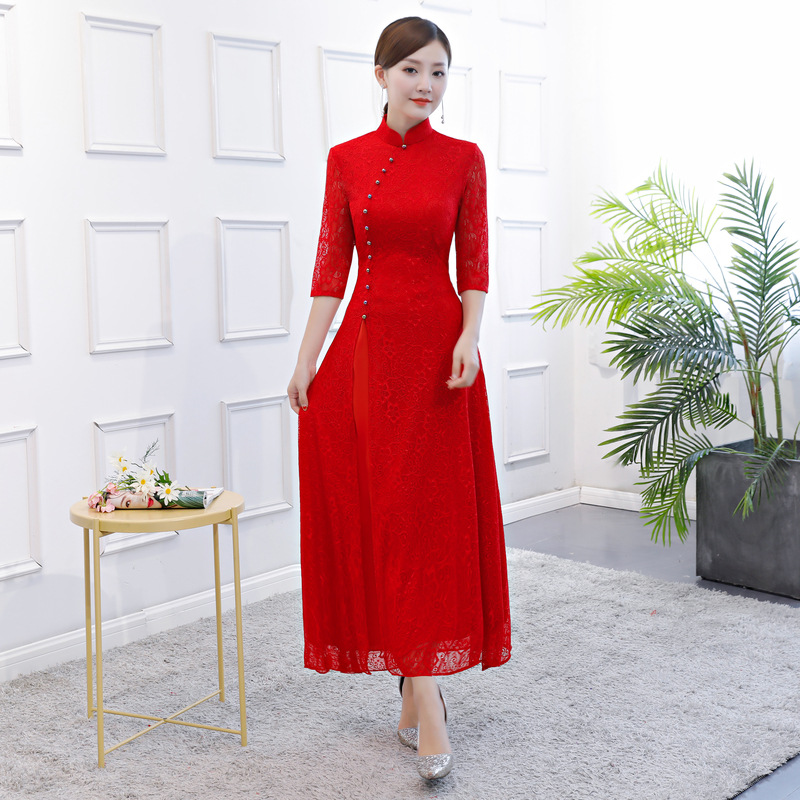 Elegant Lace Qipao Chinese Women's Long party Dress Chinese Women velvet Dress Cheongsam QiPao Evening Formal Dress M-3XL