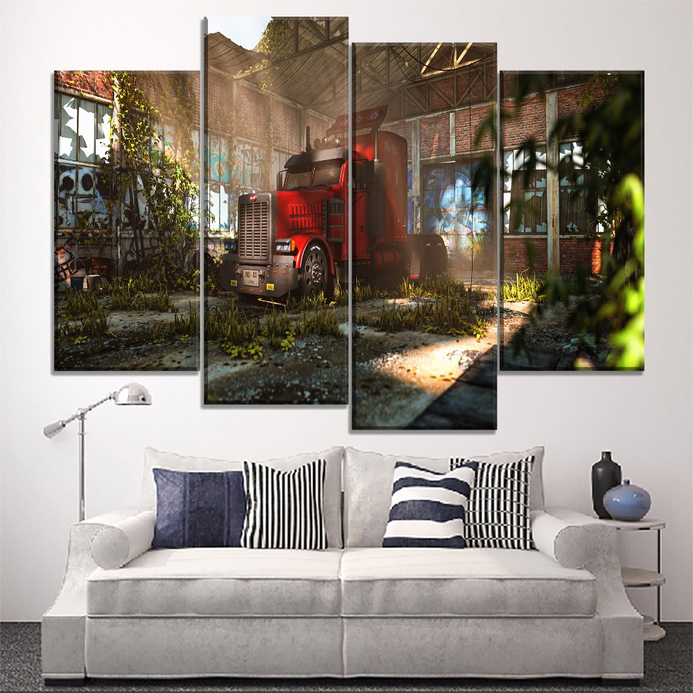 One Set Combinatorial Art Modular 4 Panel Canvas Print Old Room Vehicles Peterbilt Painting Modern Home Decor Living Wall