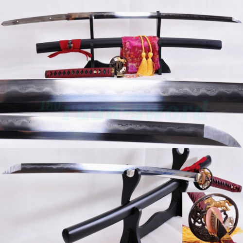 Clay tempered Folded Steel Blade Horse Tsuba Japonský samurajský meč Katana SHARP