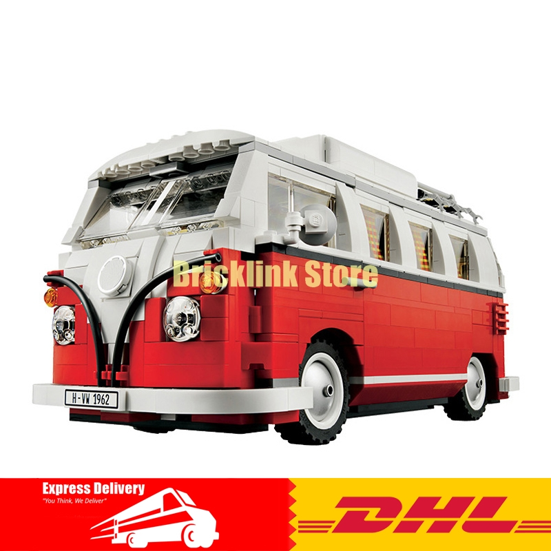 2018 New LEPIN 21001 1354Pcs Volkswagen T1 Camper Van Model Building Kits Bricks DIY Blocks Toys Compatible 10220 Children Gift new lepin 22001 pirate ship imperial warships model building kits block briks toys gift 1717pcs