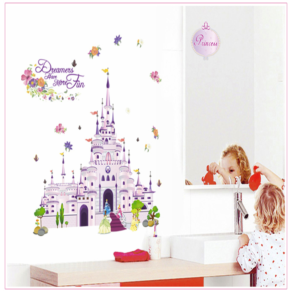 Can Be Removed Fashion Wall Stickers Castle Children Room Decoration PVC Home Decor wallpaper ...