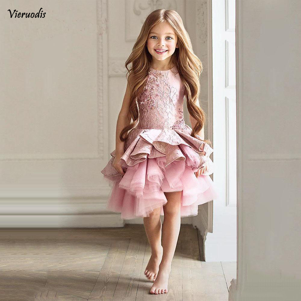8-1                Gorgeous Pink Toddler Flower Girl Dresses Knee Length Pageant Prom Party Gowns Sleeves Beads Kid Formal Communion Dress