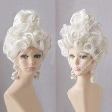 Marie Antoinette Mehtap Beyaz Kraliçe Mahkemesi Masquerade Cadılar Bayramı Kostüm Saç Peruk + Peruk Kap