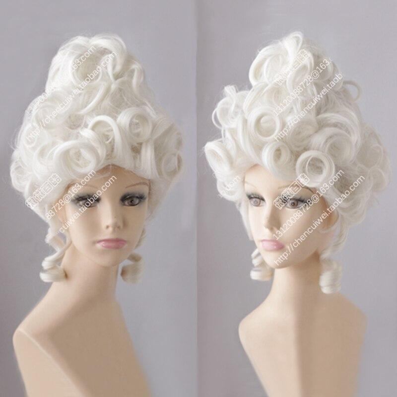 Marie Antoinette Mondlicht Weiß Königin Gericht Maskerade Halloween Kostüm Haar Perücken + Perücke Kappe