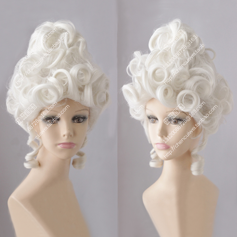 Marie Antoinette Moonlight White Queen Court Masquerade Halloween Costume Hair Wigs + Wig Cap