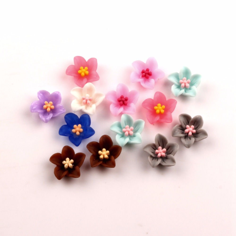 100Pcs Mixed 13mm Resin Flower Decoration Crafts Flatback Cabochon Beads Embellishments For Scrapbooking Kawaii DIY Accessories