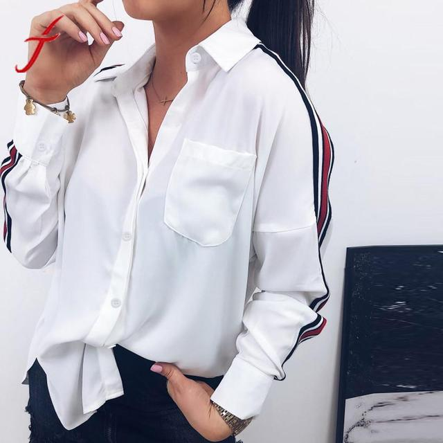Feitong Fashion Office Lady Blouse Women Casual White Shirt Lapel Collar Stripe Long Sleeve Botton Shirt Blusas Female Tops ##