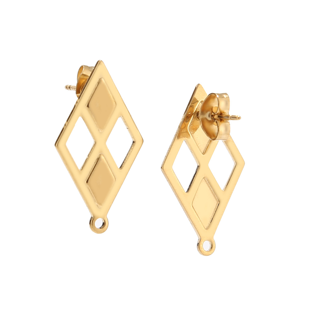 10pcs Exaggerated Surgical Steel Real Gold Plated Rhombus Earring Posts Studs With 1.5mm Holes For Boho Jewelry Making