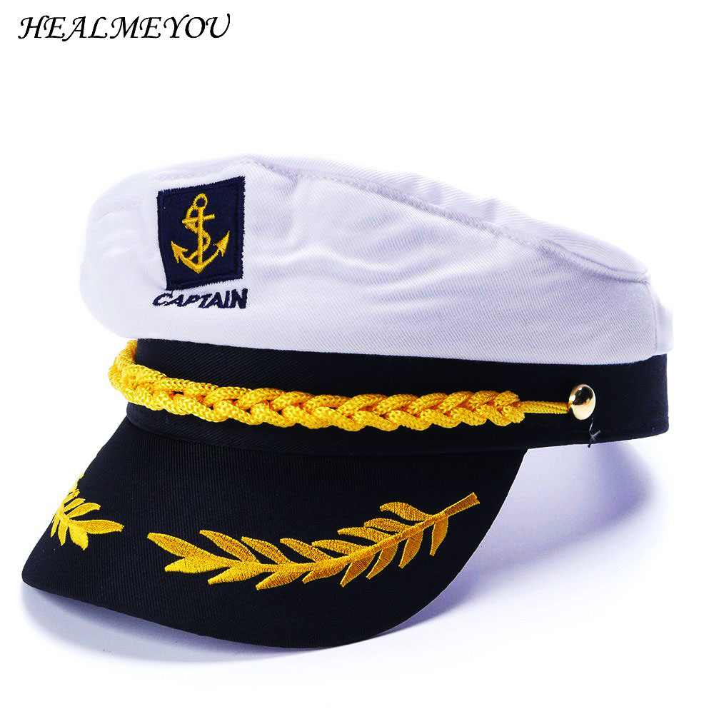 9264f32360bf0 1 PC Military Nautical Hat White Yacht Captain Hat Navy Cap Marine Skipper Sailor  Cap Costume