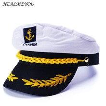 Militar náutico sombrero blanco de capitán de yate sombrero Marina Cap  Marina capitán gorra de marinero disfraz para adultos fie. 2eccff93ab4