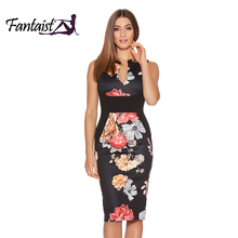 Fantaist Women Summer Vintage Sleeveless Sexy Patchwork Floral Print Elegant Evening Party Casual Office Work Slim Pencil Dress