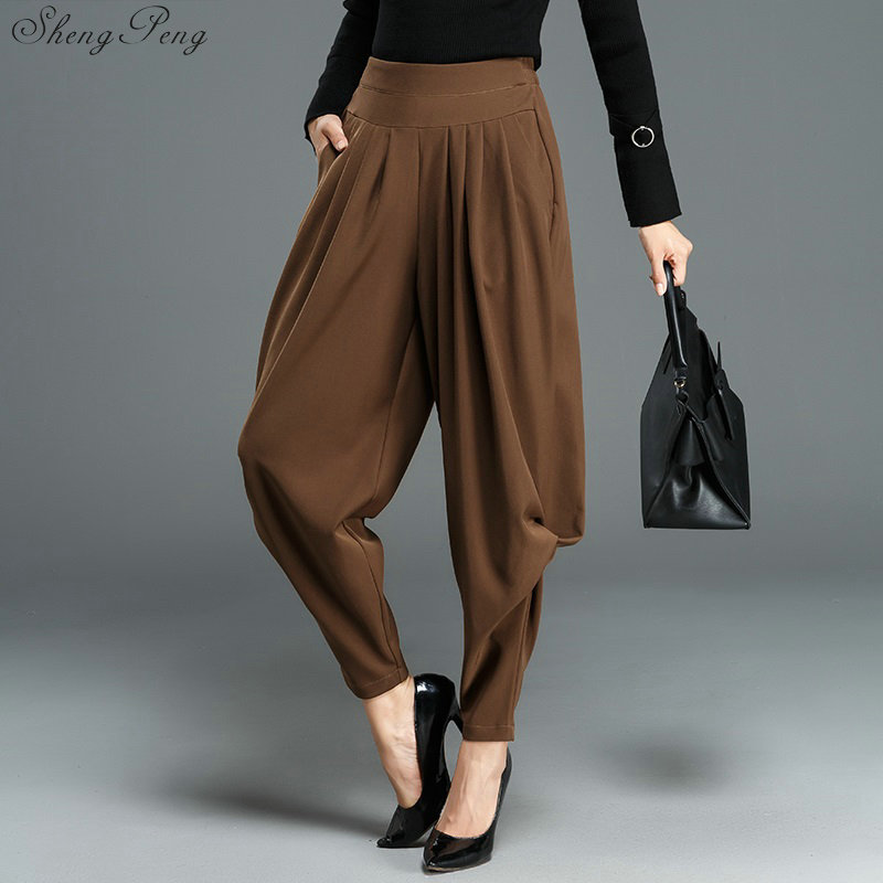 Women's Autumn Winter   Wide     Leg     Pants   Women Korean Style Worsted Trousers Female High Waist Palazzo Harem   Pants   V1168