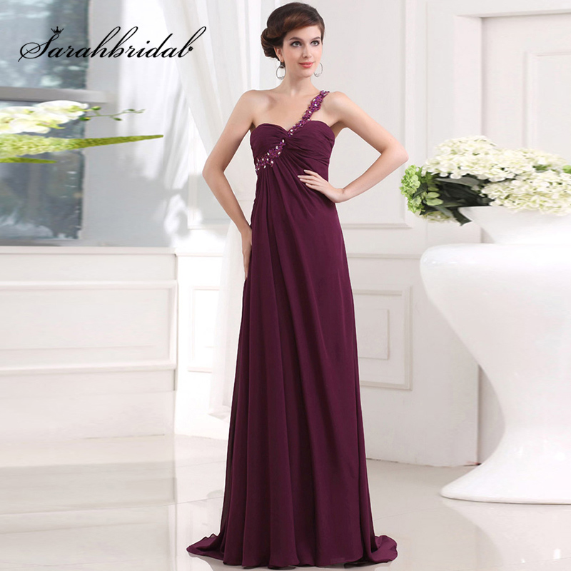Cheap In Srock One Shoulder Long   Bridesmaid     Dresses   With Rhinestones Chiffon Sweetheart Lace Up Back Simple Party Gowns SD011