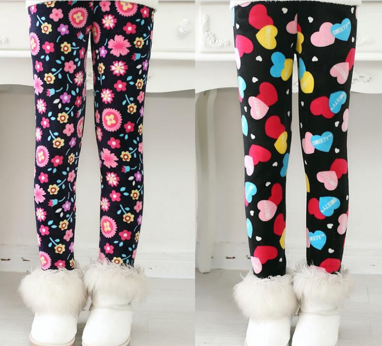 VEENIBEAR Newest Winter Girl Leggings Velvet Thicken Warm Star Print Girl Pants Kids Children Pants Winter Girl Clothing 2-7T 3